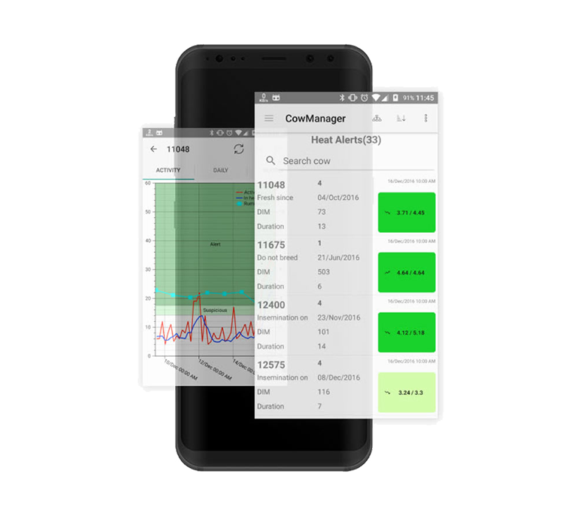 Smartphone with CowManager App